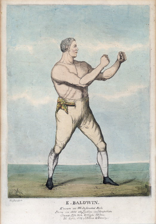 6 hand coloured Prints of Regency Boxers, depicting: Wm. Eales, James Ward, Jack Randall, E. Baldwin, Joshua Hudson, and J. Goodman. Boxing.
