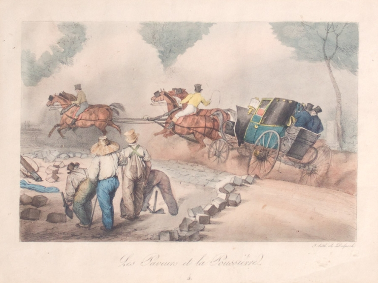 """Hand-colored Lithograph: """"Les Paveurs et la Poussiere"""". Scene of Coach about to overturn with workmen paving street looking on. Coaching."""