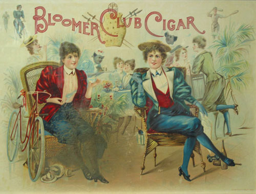 """Color Lithograph: Advertising poster for """"Bloomer Cut Cigar,"""" depicting two turn-of-the-century women wearing bloomers, seated, smoking cigars. Cigars."""