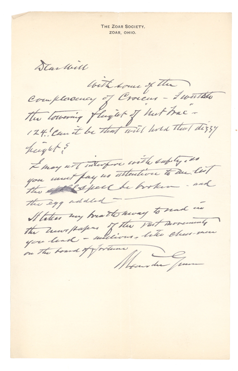 Collection of 36 Autograph Letters, signed, from Alexander Gunn to William C. Whitney, and 2 letters from acquaintances of Gunn to Whitney and Senator Mark Hanna. Ohio Zoar, Alexander Gunn.