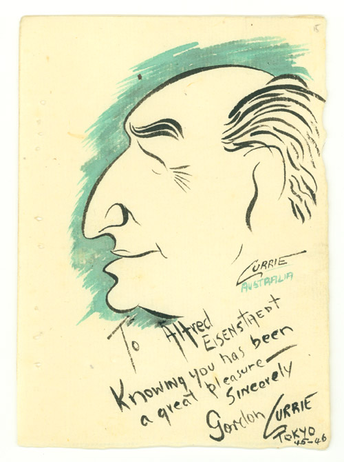 """Portrait of Alfred Eisenstadt in profile in pen and ink and watercolor on paper. Inscribed """"To Alfred Eisenstadt/ Knowing you has been/ a great pleasure-/ Sincerely/ Gordon Currie/ Tokyo/45-46. Gordon Currie."""