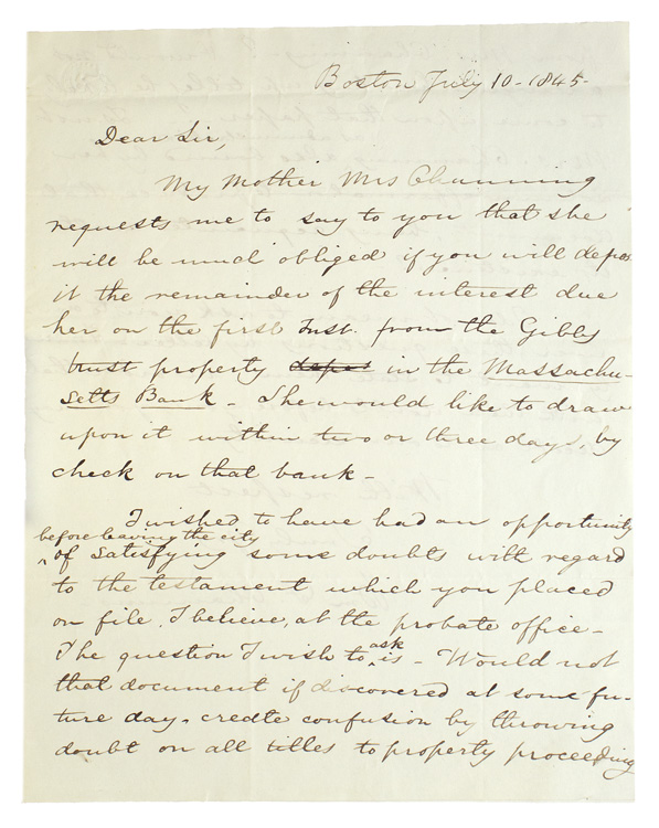 "Autograph Letter, signed (""Wm F Channing"") to Wm. D. Lotrier, conveying a financial request from his mother, and expressing doubts about ""the testament which you placed on filed ... at the probate office."" William F. Channing."