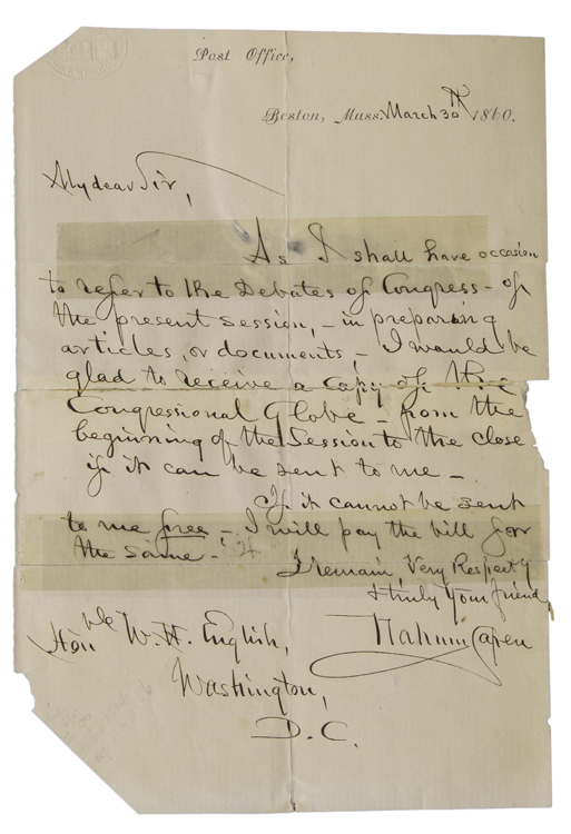 "Autograph Letter signed (""Nahum Capen""), as Postmaster, to the Honorable W.H. English pf Washington, D.C. Nahum Capen."