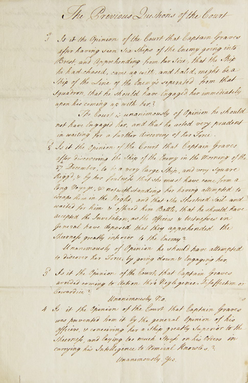"""Manuscript Document entitled """"The Previous Questions of the Court"""" giving the Court's final opinions and sentencing at the Court Martial of Captain Thomas Graves. Thomas Graves, 1st Baron, High Court of Admiralty."""