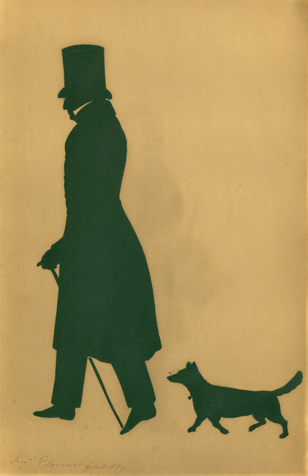 SILHOUETTE of a Gentleman and his dog. Augustin Amant Edouart.
