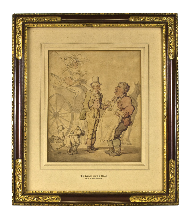 """ The Glass on the Road"". Watercolor on paper, signed ""T. Rowlandson"" , lower left. Thomas Rowlandson."