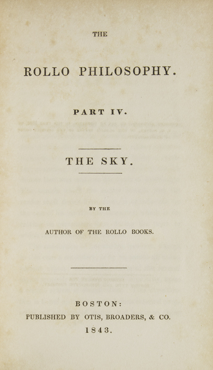 The Rollo Philosophy. Part IV. The Sky. Jacob Abbott.
