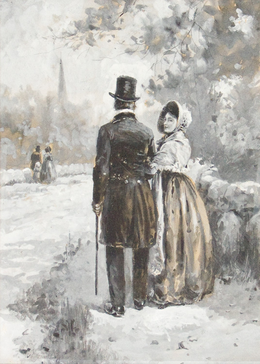 Watercolor en grisaille on board of man and woman. Edmund H. Garrett.