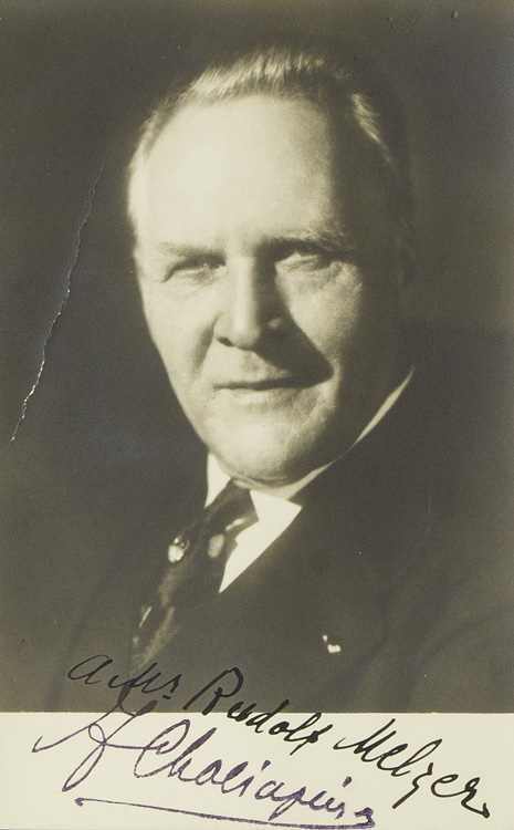 """Portrait photograph, signed (""""F Chaliapin"""") inscribed to Rudolf Melzer (""""A Ms Rudolf Melzer""""). Feodor Chaliapin."""