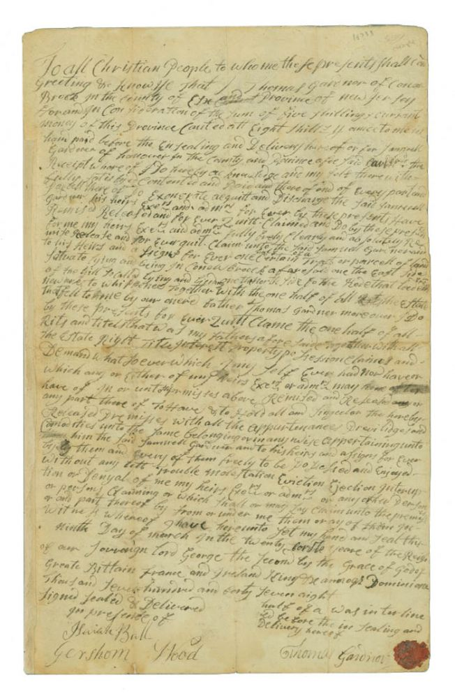 [Manuscript Quit Claim to a Piece of Land in New Jersey owned by Thomas Gardner.]. New Jersey Canoe Brook.