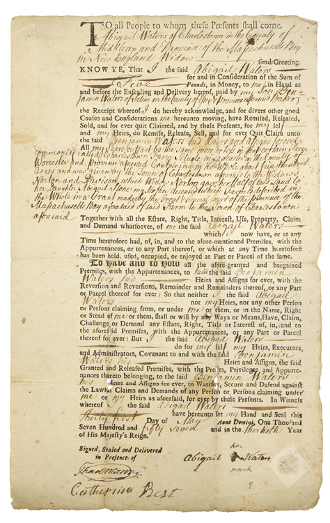 "Autograph Document, Signed ""Thad. Mason,"" as Clerk of the Middlesex Courts for a legal deed between Abigail and Benjamin Waters. Massachusetts Charlestown."