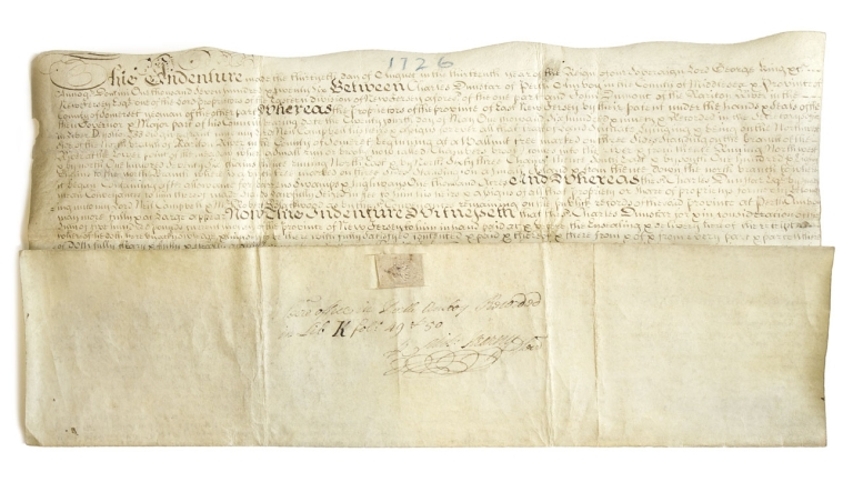 """Manuscript Indenture signed (""""Char. Dunster""""), also signed (""""Lewis Morris""""), (""""Alex. Mackdowell""""), (""""Mich. Kearny""""), conveying 500 acres of land along the North Branch of the Raritan River, in the County of Somerset, in the Province of New Jersey, to John Dumont """"for & in consideration of the sum of five hundred pounds current money of the province of New Jersey"""" New Jersey Somerset County, Charles Dunster."""