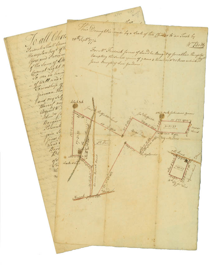 Manuscript Deed to a Piece of Land in Essex County, New Jersey, with Legal Description, April 12, 1774. [With:] Manuscript Map of the above Tract of Land on Canoe Brook, Sept. 20, 1774. New Jersey Canoe Brook.