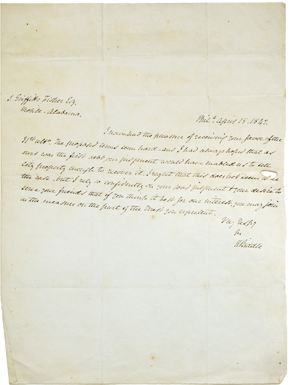 "Autograph Letter, signed ""N.Biddle."" to S. Griffith Fisher, of Mobile Alabama regarding the terms of a legal judgment. Nicholas Biddle, Biddle, icholas."