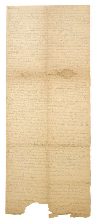 """Autograph Letter, signed to """"Dear Aunt,"""" unsigned, in pencil. Langley Collyer."""