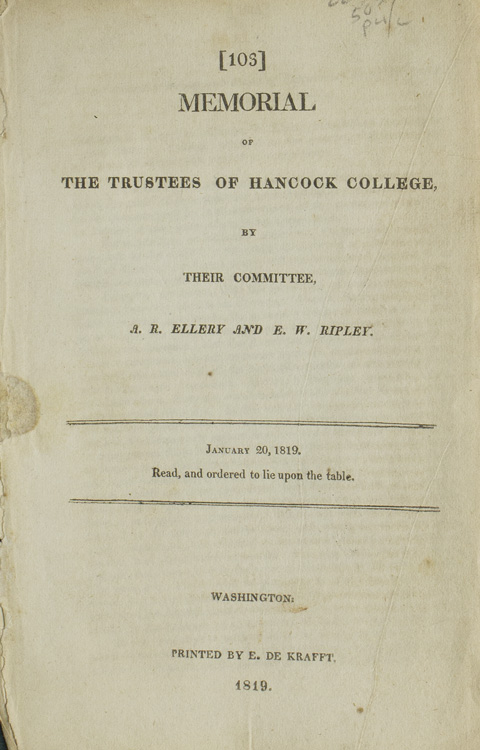 Memorial of the Trustees of Hancock College, by their Committee. January 20, 1819. Read and ordered to lie upon the table. Hancock College, Abraham R. Ellery, Eleazer Wheelock Ripley.