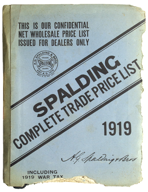 Spalding's Complete Trade Price List. Baseball.