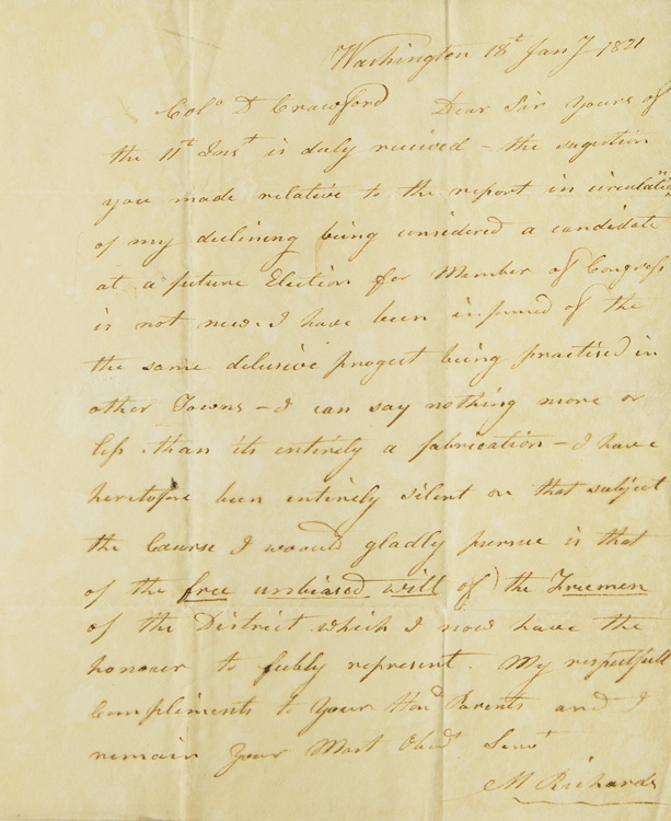 Autograph Letter, signed. To Col. D.[avid] Crawford of Putney Vermont. Mark Richards.