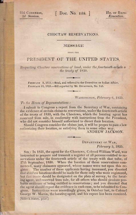 Message from the President of the United States, Respecting reservations of land, under the fourteenth article o[f] the Treaty of 1830. Choctaw, Andrew Jackson.