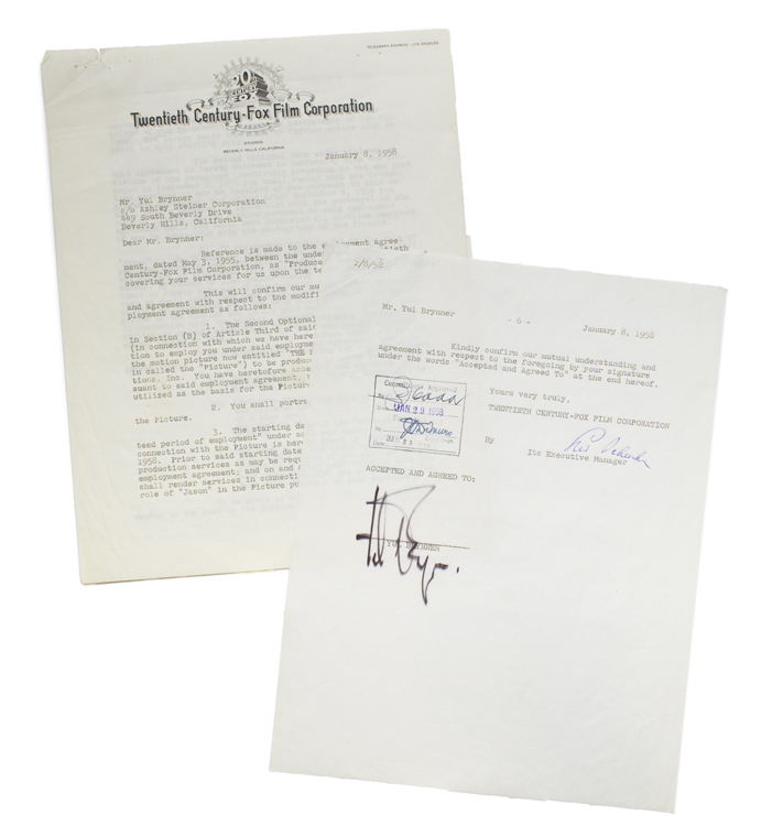 """Typed Contract Signed between Yul Brynner and Twentieth-Century Fox, assignment Brynner the role of """"Jason"""" in the movie version of William Faulkner's THE SOUND AND THE FURY. William Faulkner, Yul Brynner."""