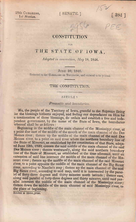 Iowa. Constitution For The State Of Iowa, Adopted in Convention, May 18, 1846. Iowa.
