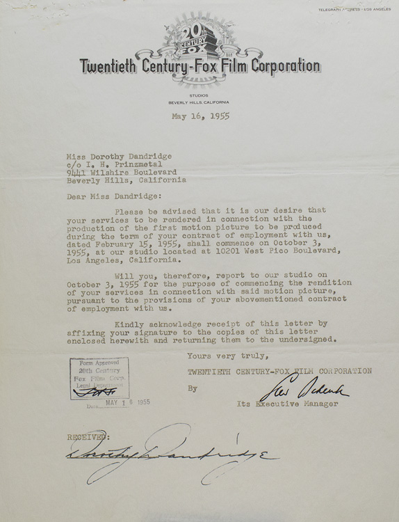 """Typed Contract signed between Dorothy Dandridge and Twentieth-Century Fox, to """"render services as star or co-star in two class 'A' feature length motion pictures"""" Dorothy Dandridge."""