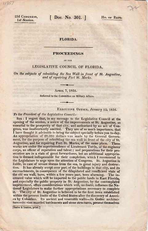 Proceedings Of The Legislative Council Of Florida, On The Subject Of Rebuilding The Sea Wall In Front Of St. Augustine, nd of repairing Fort St. Marks. Florida.