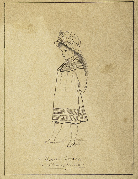 """Drawing of Little Girl entitled """"He isn't coming/ 15 minute sketch."""""""