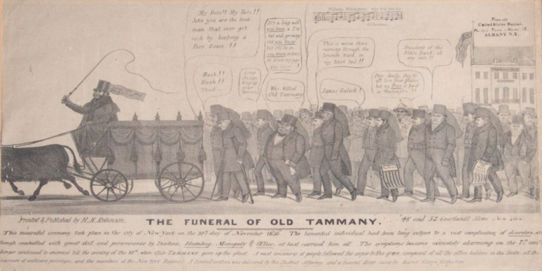 """""""The Funeral of Old Tammany"""". BROADSIDE, Henry. R. Robinson."""