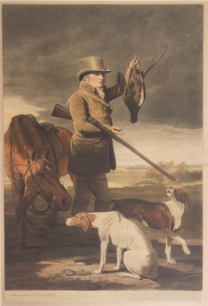 Color lithograph depicting a huntsman with horse and two hounds, holding up a pheasant. Macbeth-Raeburn, British, enry.