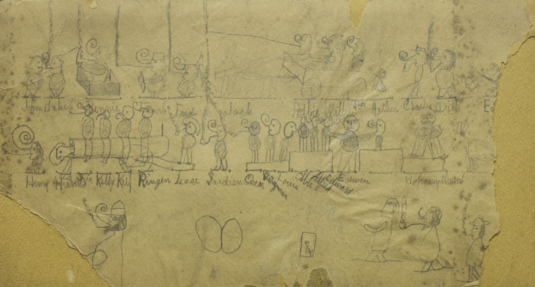 Drawings, two sided. with some damage. Friends identified by name on the larger more complicated image. Langley Collyer.