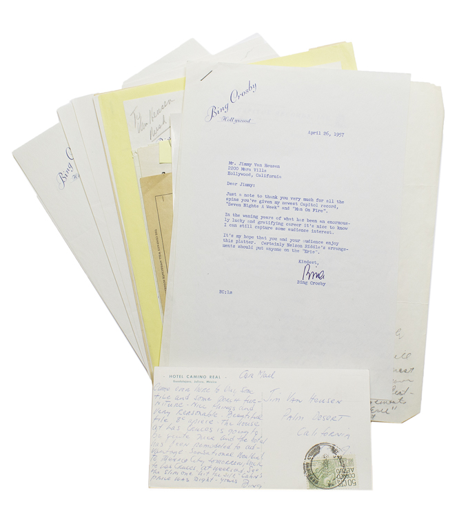 "Archive of letters, postcards, photographs, and notes from Crosby to songwriter Jimmy Van Heusen. Harry Lillis ""Bing"" Crosby."