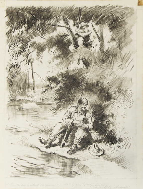 """Original drawing for the frontispiece of """"A Tomato Can Chronicle"""": """"From the box he extracted a spinner"""", depicting an angler seated streamside, with another man perched up a tree. Derrydale Press, Ralph Boyer."""