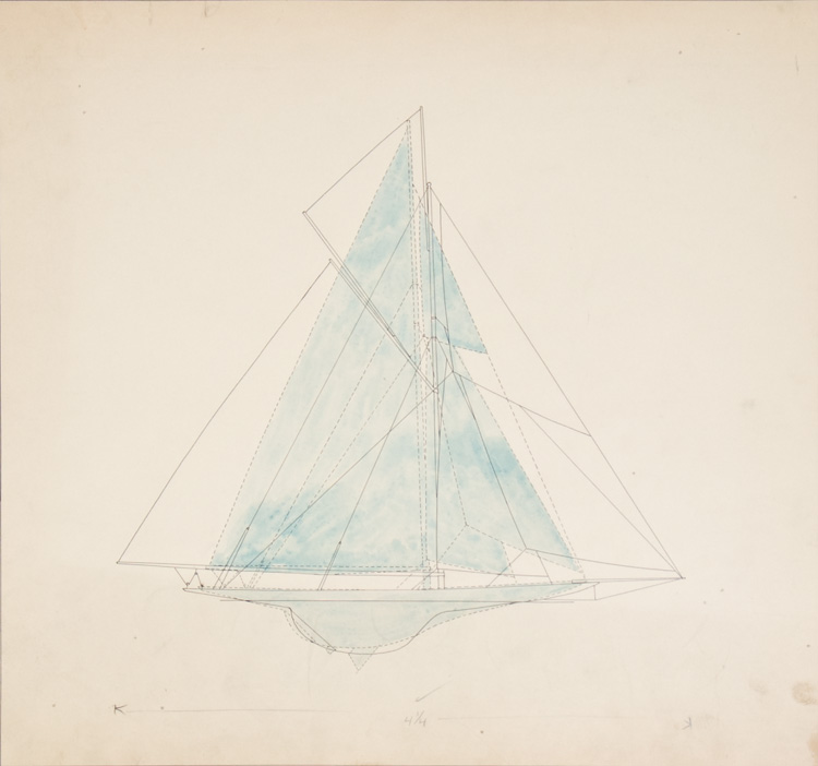 "Original drawings for ""Men Against the Rule"": three comparative diagrams illustrating the evolution of yacht design: Puritan - Reliance, Reliance - Enterprise, and Puritan - Enterprise. Charles Poor."