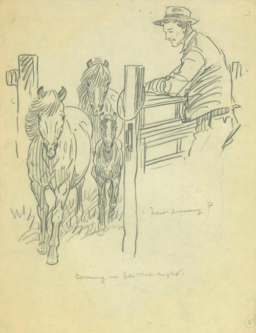 """Squadron A Collection: """"Sway-backs Reunion"""", ink drawing of a cavalry soldier in uniform with crutch and bottle, giving his mount a drink from a saucepan. [And:] A Group of 26 pencil sketches relating to Squadron A (horse and military scenes). Paul Brown."""