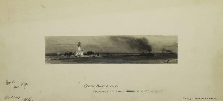 "Watercolor entitled ""Grosse Point Light. Entrance to Lake St. Claire"", signed C.S. lower right. Michigan Grosse Point."