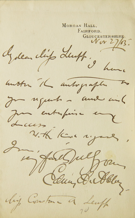 Two Autograph Letters, Signed, One to Miss Luff (autograph request)and another to Mr. Harris (accepting dinner engagement). Edwin A. Abbey.