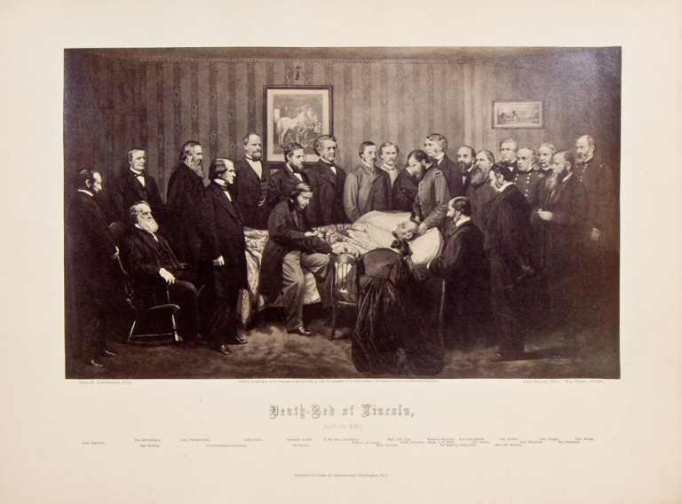 Death-Bed of Lincoln, April 15, 1865. Abraham Lincoln, John Littlefield.