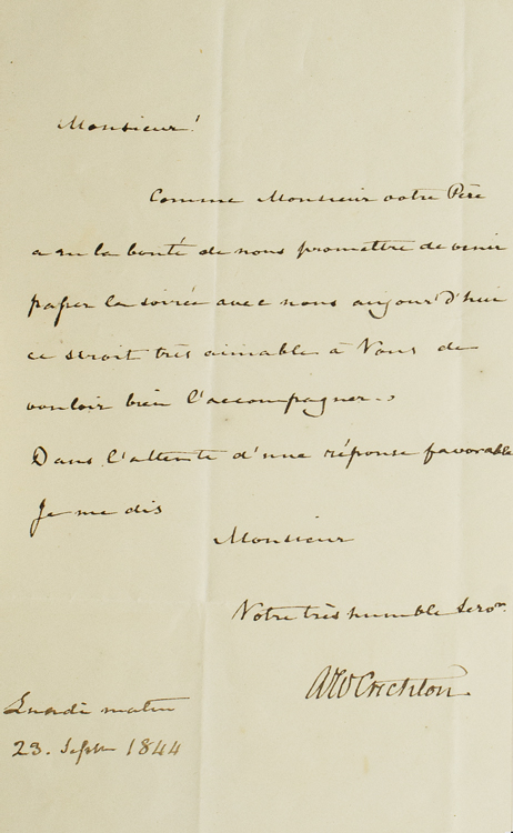 """Autograph Letter, signed (""""AW Crichton"""") to M. de Jordan, inviting him to spend the evening. Sir Archibald William Crichton."""