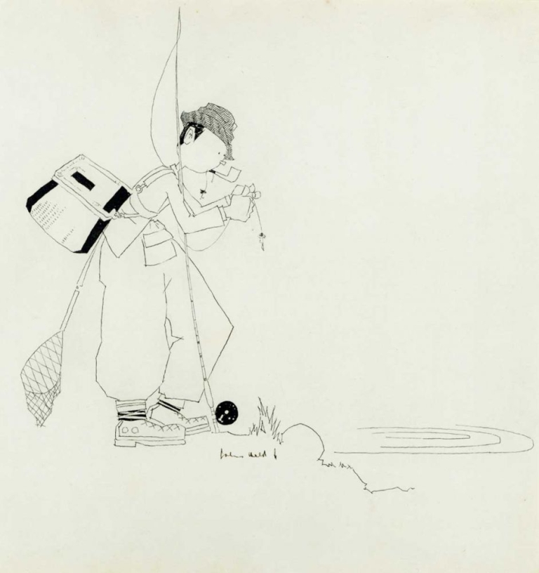 Outlines of Sport [with:] original pen and ink drawing of a fishing scene, the third picture in OUTLINES. John Held, Jr.