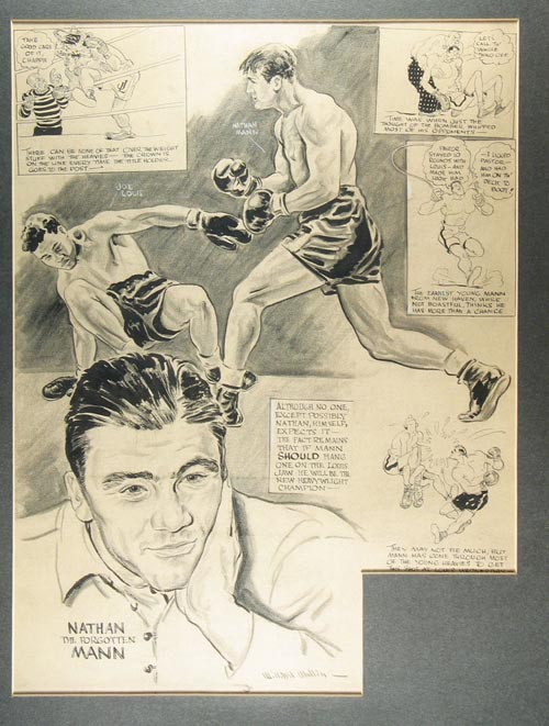 """Original pen and ink of Nathan Mann (Natale Menchetti) knocking down Joe Louis caption reading """"Although no one except possibly Nathan himself expects it-the fact remains that if Mann should hang one on the Louis Jaw he will be the new Heavyweight Champion-"""" Willard Mullin."""
