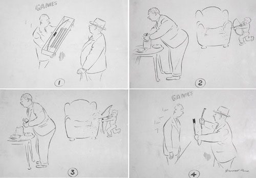 """Cartoon, probably done for The New Yorker: set of four sequential ink drawings, last signed """"Garrett Price"""". New Yorker Magazine Art, Garrett Price."""