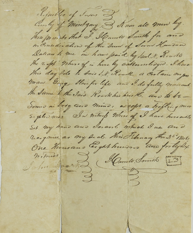 """Autograph receipt, bill of sale for a slave, signed """"Harrold Smith,"""" also with the """"scrawl which I use and recognise as my seal,"""" witnessed """"John Rourk"""". Texas."""