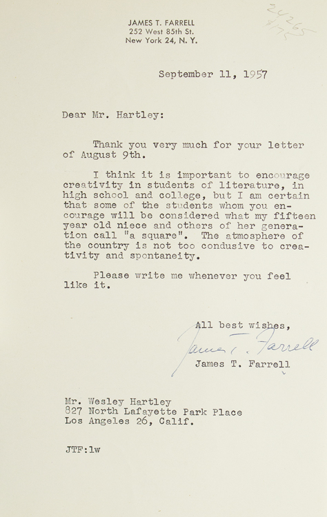 """Two typed letters, signed """"James T. Farrell"""". James T. Farrell."""