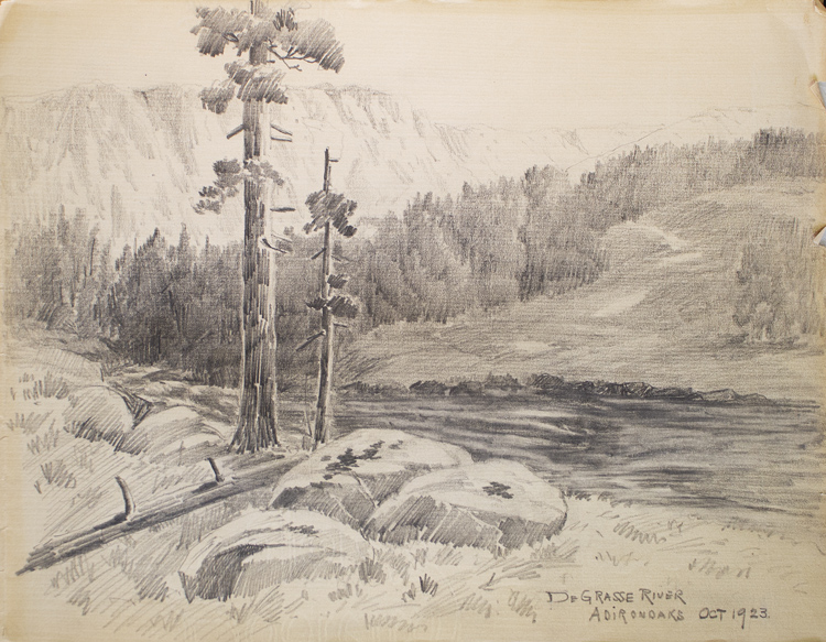 "Thirteen amateur pencil drawings on paper of Scenes of Mills in Adirondacks, Rochester ""Genessee Lower Falls, Rand Powder Mills, Monroe Co., NY. (6), De Grasse River, Adirondacks (4). Adirondacks."