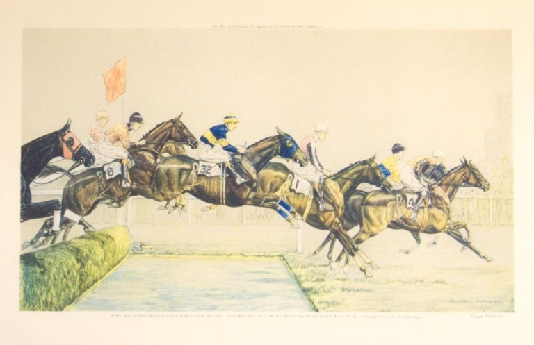 "The Water Jump in the Grand National of 1931 at Aintree. Title in Brown's hand in plate ""The Water-Aintree, 1931."" The legend below reads ""The Water Jump in the Grand National of 1931 at Aintree: the Riderless Tomasha; Thereas, Grakle, No. 6 The Willimate Winner, Solomon who was to fall later: Easter Hero, No. 1 the Crowd's favorite. Great Span and Greyalack, the Winner in 1929, who Finished Second"" Paul Brown."