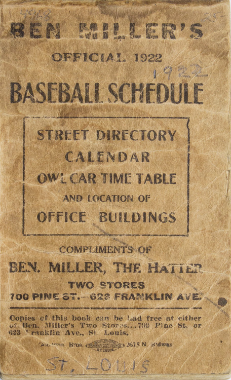 Ben Miller's Official Baseball Schedule 1922