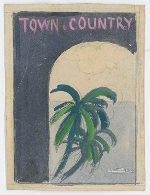Town & Country magazine: original cover treatments, pencil and gouache on paper of a cluster of palms with the sea in background, seen through an arched doorway. Fashion, Reynaldo Luza.