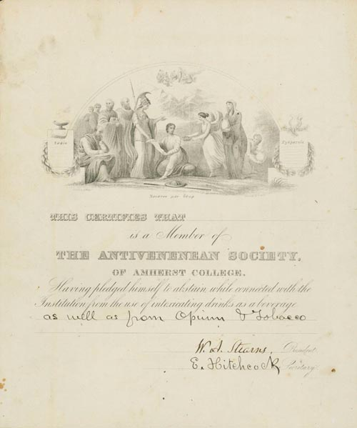 Certificate of Membership in the Antivenenean Society of Amherst College. Amherst.