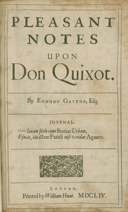 Pleasant Notes upon Don Quixot. Edmund Gayton.